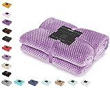 DecoKing Kuscheldecke 70x150 cm lila Decke Microfaser Wohndecke Tagesdecke Fleece weich sanft kuschelig skandinavischer Stil Henry