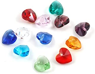 5 Sets Top Quality Birthstone Heart Charms 10mm Top Drill Crystal Beads (60pcs) for Jewelry Craft Making BB15
