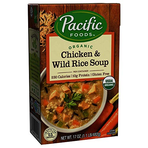 Pacific Foods Organic Chicken with Wild Rice Soup, 17-Ounce Cartons, 12-Pack