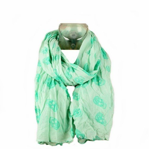 PARIS FASHION Foulard Cheche Etole - Motif Tete de Mort - Coloris Vert - Tendance Collection Printemps Eté 2013-160 cm x 100 cm