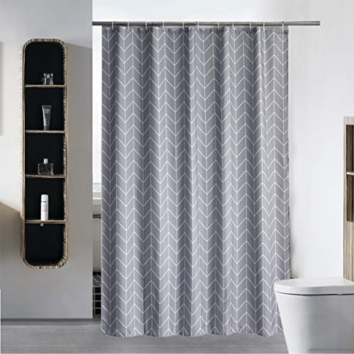 S·Lattye Fabric Shower Curtain or Liner Water Repellent Washable Cloth (Hotel Quality, Friendly, Heavy Weight Hem) with White Plastic Hooks - 72' x 84', Extra Long, Gray Arrow