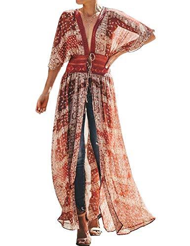 FANCYINN Womens Long Floral Chiffon Kimono Sheer Cover Up Boho Bohemian Dress Beach Wears Bikini Cover Ups XS