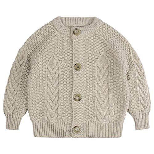 LUCKME Abrigo con capucha para niños pequeños y niñas, monocolor, de ganchillo, ropa, abrigos, chaqueta de punto.