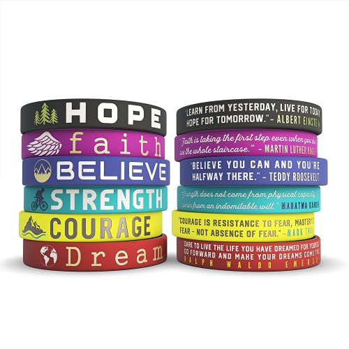 Inkstone - 12-pack Inspirational Quote Bracelets - Dream Courage Strength Believe Faith Hope - Wholesale Pack of 1 Dozen Silicone Rubber Wristbands in Bulk - Party Favors Gifts for Teens Adults