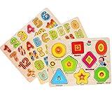 Puzzle en Bois Puzzle Alphabet Jouets éducatifs 3 Pieces Puzzles Alphabet/Numéro/Animal/Fruits pour Les Petits Enfants de 3 an à 5 Ans (3)