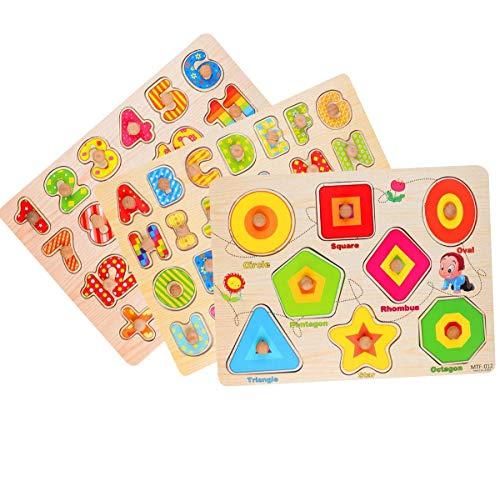 Rompecabezas de Madera Puzzle Clavijas Puzzles Conjunto de 3 Alfabeto, Número, Animales y Fruta Puzzles para niños pequeños Juguete Educativo de Multicolor para Aprendizaje (3)