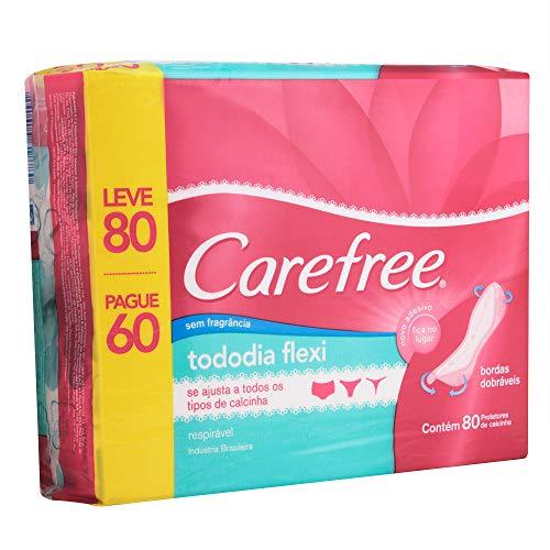Protetor Diário Todo dia Flexi sem Perfume, Leve 80 Pague 60, Carefree, 80 Unidades