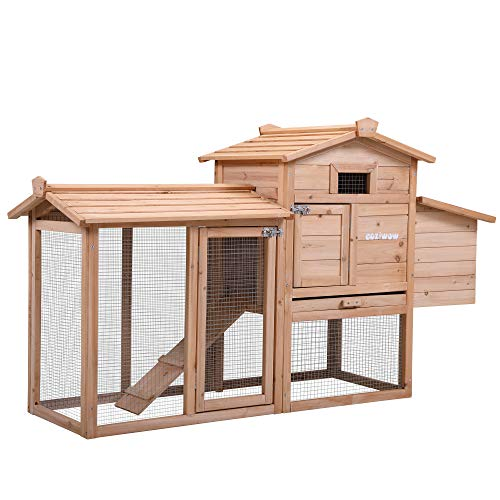 Sandinrayli Rabbit Hutch,Outdoor Wooden Pet Bunny House Wooden Cage with Ventilation Gridding Fences, Openable Door, Crib for 2 Rabbits, Original Wood Color