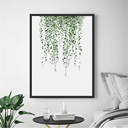 Yueyu Leinwand Wandbild Aquarell Pflanzen Blatt Vintage Poster Wandkunst Leinwanddrucke Nordic Style Malerei Malerei Dekoration Salon Baby Zimmer Dekor-60x80cm
