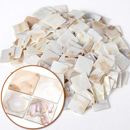 MDLUU 350 Pcs Mosaic Tiles Mother of Pearl Mosaic Tiles Shell Tiles Square White Mosaic Pieces for Home Decoration, DIY Crafts, Mosaic Tile Projects
