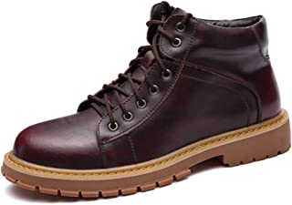 Man brown boots Men's Fashion Ankle Work Boot Casual Vintage Rhythm Toe Lace Up British Style Heights Top Boot HUANYUNAE