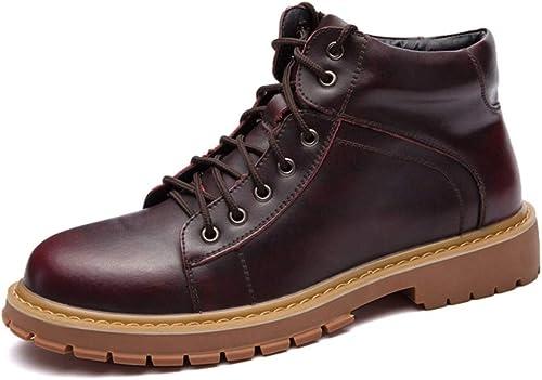 YAJIE-bottes, Bottes de Travail pour Hommes, Bout Rond Vintage décontracté à Lacets jusqu'à Style Britannique (Couleur   du vin, Taille   43 EU)
