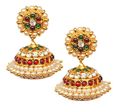 Pahal - Pendientes tradicionales de perlas blancas rojas y verdes de oro Jhumka del sur de la India Bollywood Kemp Temple Joyería de boda para mujeres