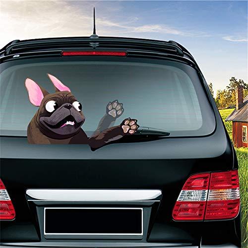 MIYSNEIRN Rear Window wiper Decal Animal French Bulldog Dog/Pet Waving Wiper Sticker 3D Funny for Vinyl Bumper Windshield Sticker Waterproof Car Wiper Decal for Rear wiper Vehicle tags Decor (Coffee)