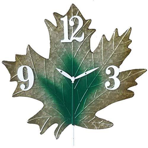Reloj de Pared de Jardín Al Aire Libre, Diseño de Hoja Antigua Vintage, Relojes de Jardín de Arte de Hierro, Reloj Interior Impermeable Al Aire Libre, Hoja de Metal de 8 Pulgadas