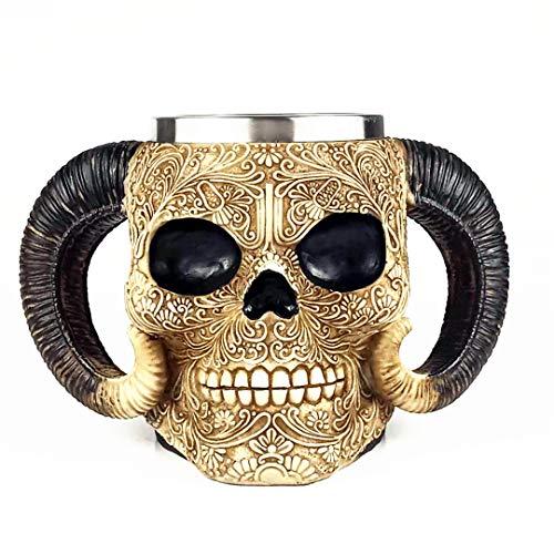 Viking Drinking Coffee Skull Taza, doble Ram cuerno medieval eskleleton acero inoxidable tanque cerveza casco, cráneo cerveza Stein, Wine Jucie Lovers- 540 ml