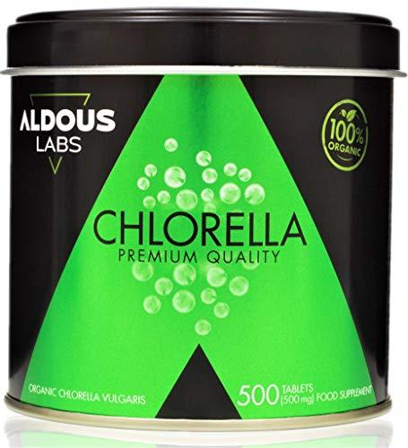ALDOUS BIO - Chlorella Ecológica Premium para 165 días - 500 comprimidos de 500mg - Pared celular rota - Vegano - Libre de Plástico - Certificación Ecológica Oficial