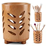 Cottify Bamboo Toothbrush Holder for Bathroom w/ Cork Base, Toothbrush Cup with Drainage, Quick...