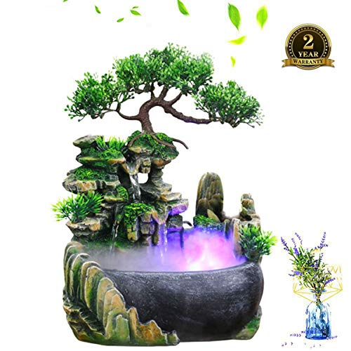 Desktop Water Fountain, Indoor&Outdoor Fountains Waterfalls Humidifier, Illuminated Relaxation Fountain Zen Meditation with LED Colorful Lights for Home, Office, Bedroom Decoration(US Plug-110V)
