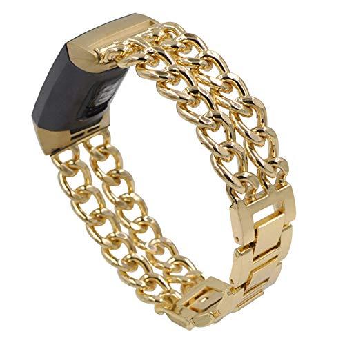 XIALEY Pulseras De Metal Compatible con Fitbit Charge 4 / Fitbit Charge 3, Correa De Acero Inoxidable Banda De Cadena De Repuesto para Reloj Inteligente Charge 3 / Charge 4,Oro