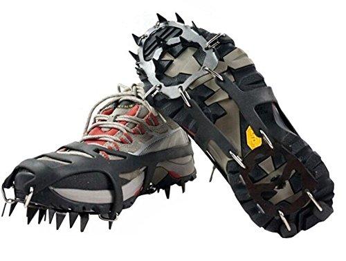 1Paar 18Stahl Ohrstecker Ice Cleats Schuh Stiefel Tread Griff Traktion Steigeisen Kette Spike Greifer für Walking Klettern Snowfield Bergsteigen Angeln, M