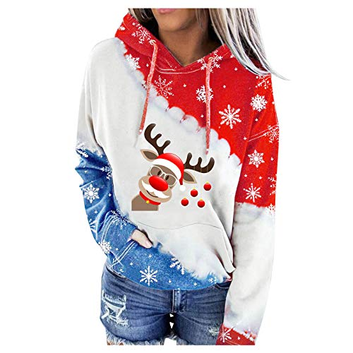 Aniywn Merry Christmas Hooded Sweatshirt for Women Casual Pocket Autumn Winter Patchwork Cute Print Graphic Hooded Outwear