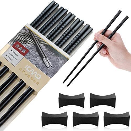 5 Pares palillos chinos,Palillos chinos de aleación,Palillos chinos reutilizables,Palillos negros de aleación,Palillos reutilizables,Palillos de fibra de vidrio (A)