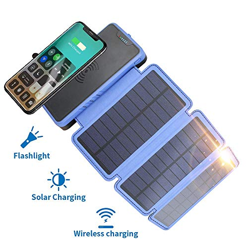Solar Ladegerät, Elzle Qi Wireless Portable Power Bank 20000mAh Mit 3 Solar Panels Taschenlampe Dual 5V / 2.1A USB Ports Wasserdicht Externer Akku Kompatibel Mit Smartphones, Tablets usw