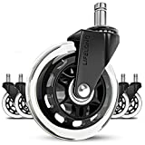 Office chair wheels replacement rubber chair casters for hardwood floors and carpet, set of 5, heavy duty office chair desk casters for chairs to replace office chair mats - Universal fit