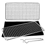 Odoland 2 Packs Bushcraft Grills, Stainless Steel Camping Backpacking Grill Gates with Gate Holder and Durable Canvas Pouch