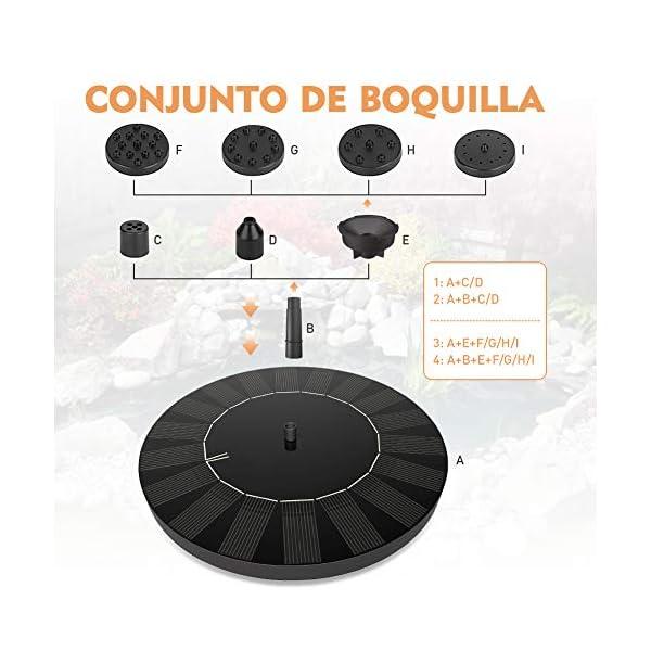 SUVOM Solar Fuente Bomba, 2.5W Bomba de Fuente Solar Jardín de Agua Independiente con Batería de 1000mAh para el Aire…