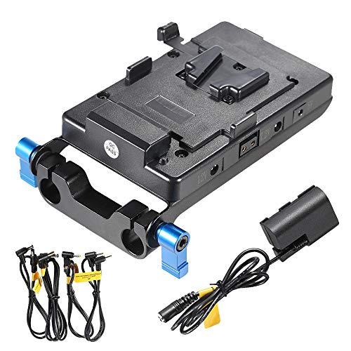 Andoer v mount piastra batteria con adattatore per batteria LP E6 Morsetto per asta da 15 mm compatibile con Canon 5D2 5D3 60D 7D 6D Compatibile con BMCC BMPC