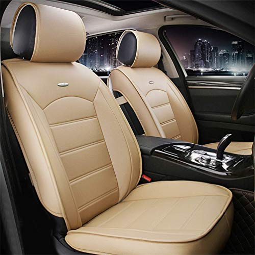 Juego de 2 Fundas de Cuero para Asientos Delanteros de automóvil para Citroen C2 C3 C4 C5 C6 DS3 DS4 DS5 C4L C-Zero E-mehari, Compatible con airbag (Beige)