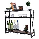 AYNEFY Botellero de vino, estante de pared para vino de hierro + MDF, botellero para bar, soporte para copas de vino, colgador, 80 x 20 x 62 cm