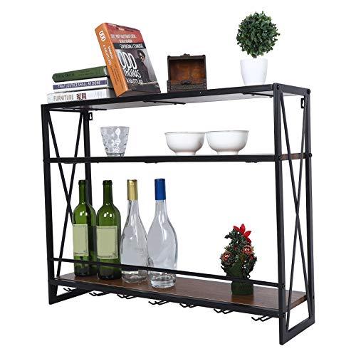 Wakects - Hierro de tres capas con compartimentos para vino de pared de madera, se utiliza en cocinas, restaurantes, sótanos de vino y bares, con una fuerte capacidad de carga