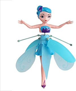 Szblk Flying Fairy Doll for Girls Rc Infrared Induction Helicopter Kids Toys Teen Toys Flying Princess Dolls Flying Fairy Kids Toys Teen Toys Ballet Girl Flying Princess Doll (Color : Blue)