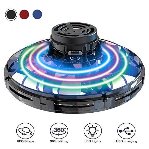 Abree UFO Flying Ball, Mini Drohne Handgesteuerter Fliegender Ball, Fingerkreisel Flugspielzeug mit 360°Rotierenden und LED-Leuchten für Kinder und Erwachsene (Schwarz)