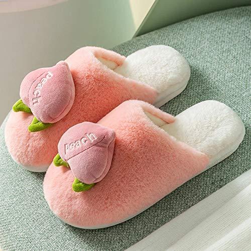 XZDNYDHGX Caliente Slippers Suave,Zapatillas de Invierno para Mujer, Zapatos para Mujer, Bonito Zapato de Frutas con Dibujos Animados, Plataforma Plana para Mujer, Rosa, EU 39-40