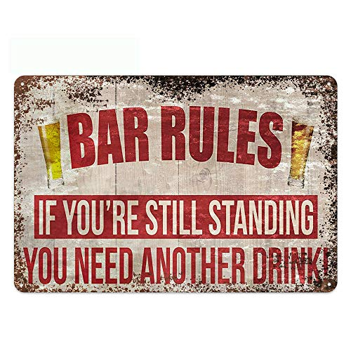 Original Vintage Design Bar Rules Tin Metal Wall Art Signs, Thick Tinplate Print Poster Wall Decoration for Bar (Beer Rules, 8x12 Inches (20x30 CM))