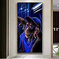 動物モダンポップアートDJモンキーオランウータンキャンバス絵画壁アートポスタープリント画像リビングルーム家の装飾55x95cmフレームレス