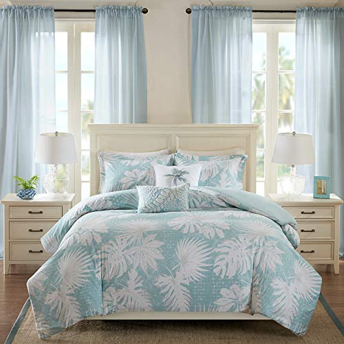 Harbor House Palm Grove Duvet Cover Full/Queen Size - Aqua, Tropical Palm Tree Leaf Floral Duvet Cover Set – 5 Piece – Cotton Sateen Light Weight Bed Comforter Covers