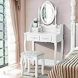 xuanyue specchiera tavolo bianco vanity trucco toeletta 5 cassetti con specchio ovale e cassetti per bambine, 1 specchio + 5 cassetti + 1 sgabelli(ovale + 4 cassetti(intaglio))