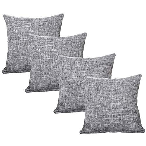 YRWL Funda de almohada decorativa de 4 piezas, cojín, funda de almohada de lino macizo, gruesa y lujosa, diseño de cremallera invisible, coche, camping, oficina gris, 50 x 50 cm
