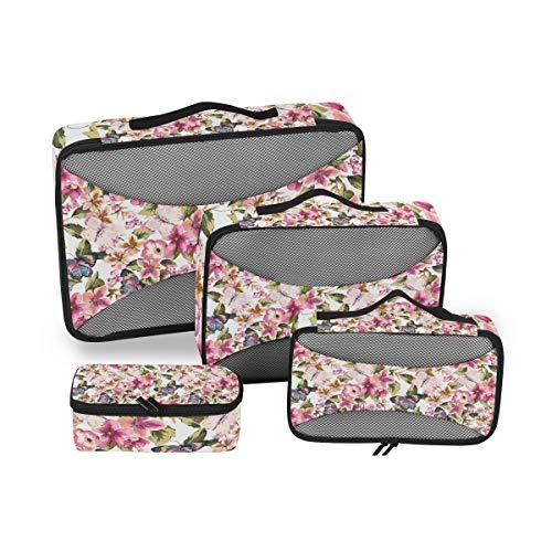 BIGJOKE - Set di 4 cubi da viaggio con farfalla, motivo floreale leggero, accessori da viaggio, bagagli