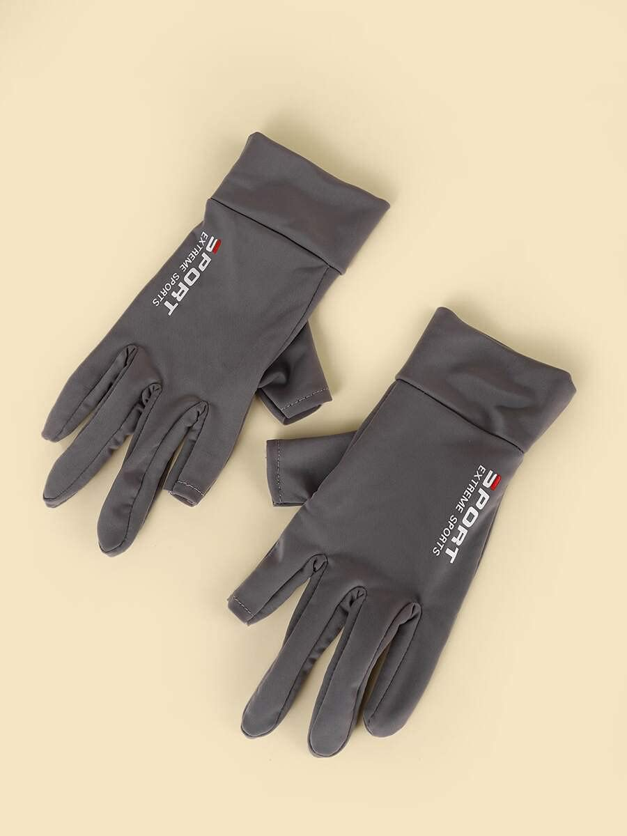 ZZTT Autumn and Winter Gloves Letter Graphic Gloves Warm and Comfortable Gloves for Men or Momen (Color : Grey, Size : One-Size)