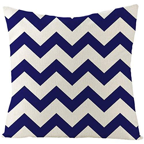 Socoz Fundas de almohada de algodón, diseño ondulado, beige, azul oscuro, fundas de almohada