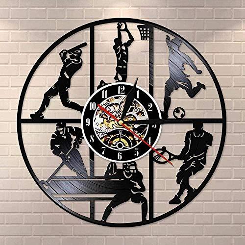 Béisbol Baloncesto Fútbol Hockey Fútbol Tenis Juego de Pelota de Vinilo Disco de Pared Reloj de Pared de los Niños s