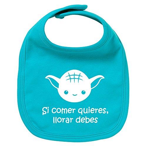 ClickInk Babero de bebé Si comer quieres, llorar debes. Parodia. Regalo original. Babero bebé divertido. Bebé friki.