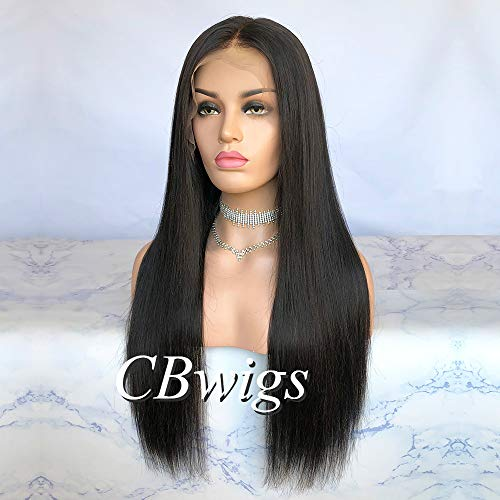 Cbwigs sans colle droite naturelle perruque dentelle 5.5\