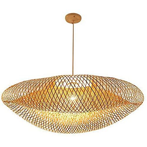 N\C Retro bambú lámpara Tejida Natural Tejido de ratán lámpara Colgante E27 Altura Ajustable Lámpara de Techo Restaurante Sala de té Pasador de pasillos Lámpara Colgante